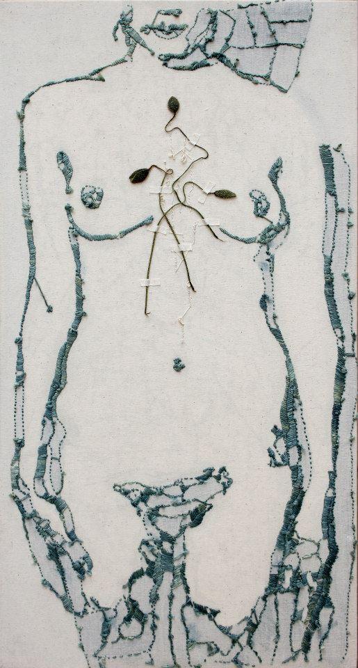 Recto/Verso - Ricamo di seta fronte e retro, papaveri e nylon su tela - Retro 33x63x10 cm