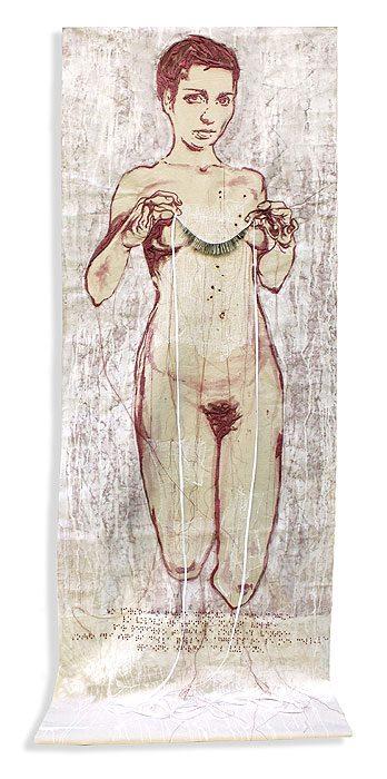 """""""Kore degli spilli"""" - ricamo di seta e spilli su tela, 80x190cm 2013"""