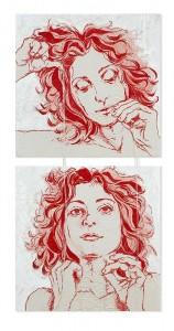 Il Dono [Aracne]-ricamo a mano su tela, fili di seta, ago 50x100cm 2013