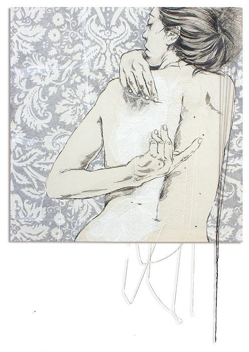 Above the skin - embroidery on canvas, 110x110cm 2013