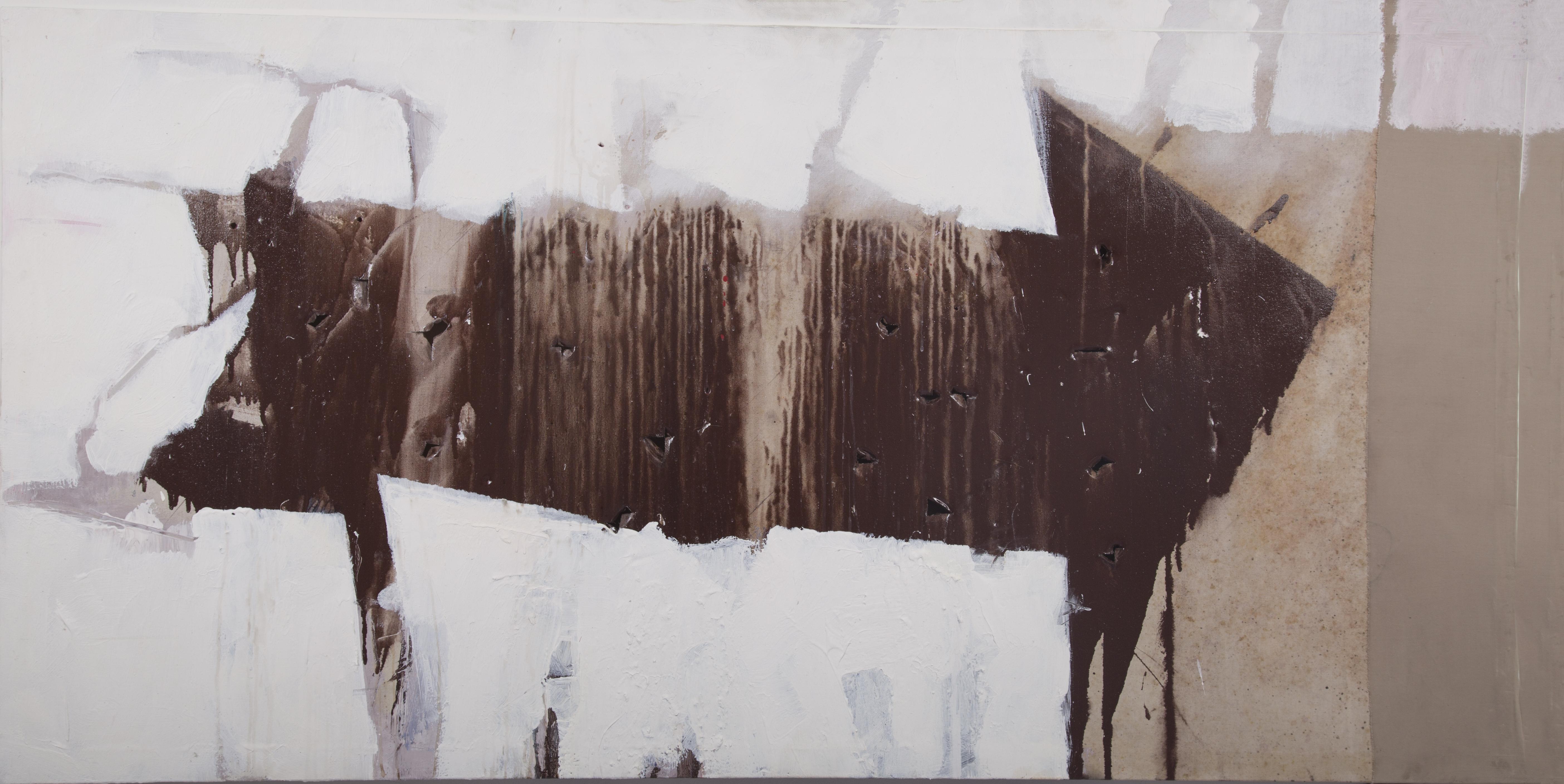 NEGAZIONE DI DIREZIONE N. 10 cm 160 x 90                   (carbone smalti carrozzeria cif cementite stoffa                    antica e ammuffita su tela)