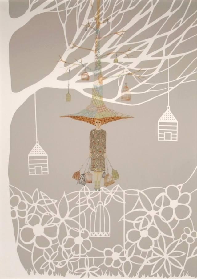 """""""albero della cuccagna"""" sovrapposizione: - matite colorate e crete su carta vellum - paper cutting su cartoncino 50x70 2014"""