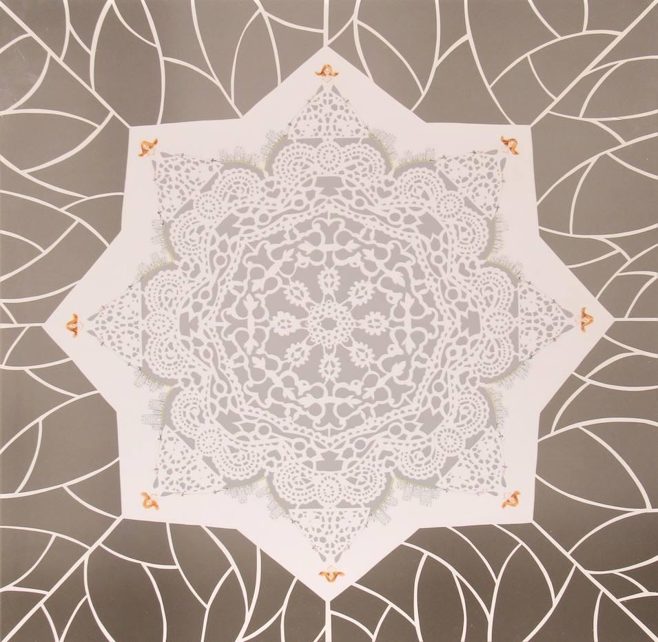 """girotondo"""" sovrapposizione: matite e crete colorate su carta vellum paper cutting su cartoncino 70 x 70 cm - novembre 2014"""