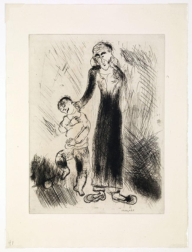 Marc Chagall, Il padre Cìcikov lo castiga, da Le anime morte, mm 277 x 208