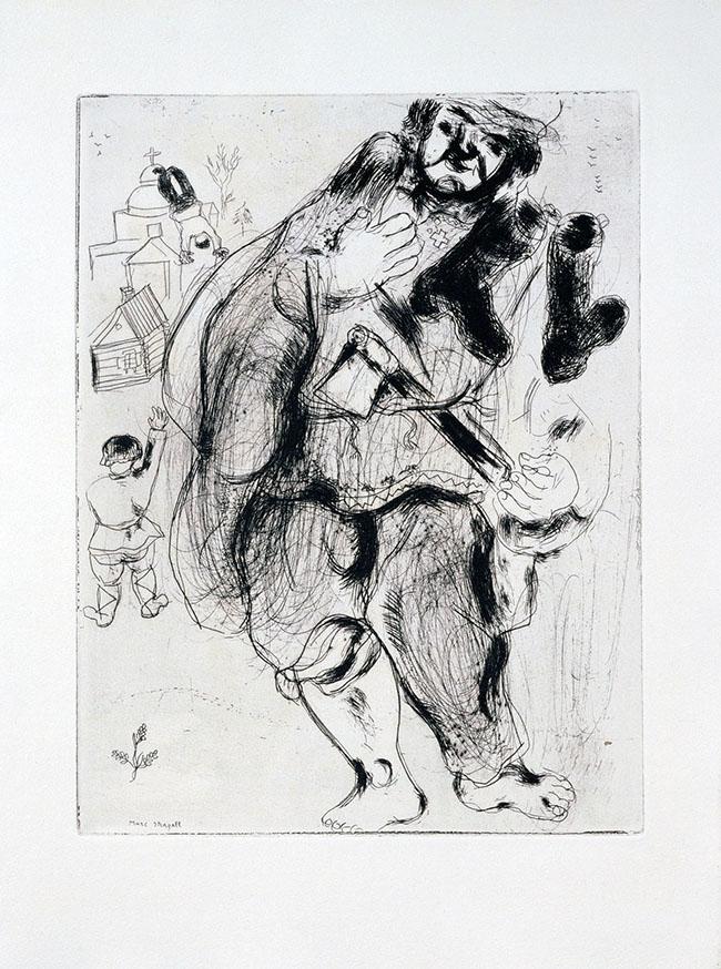 Marc Chagall, Tappo Stepàn, carpentiere, da Le anime morte, mm 277 x 212